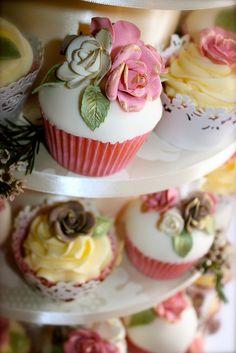 Vintage Rose Wedding Cupcakes by ConsumedbyCake, via Flickr