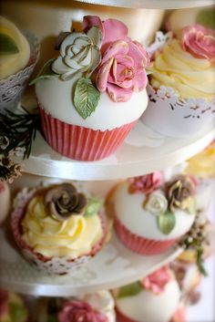 Vintage Rose Wedding Cupcakes by ConsumedbyCake