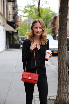 anine bing denim jeans heels blouse chanel bag new york bleecker street
