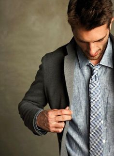 Layered, pinstripe shirt, checkered skinny tie, grey wool jacket
