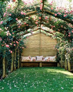 Climbing roses. Garden haven. Outdoor lounge. Heaven. Canopy. Cushions. Flower petal path. Love. Peace. Happiness. Pretty in Pink.