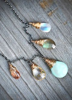 Gatherings Blue Peruvian Opal Labradorite Moonstone - Styling Tip: Use Wood for a nice Background instead of plain white.