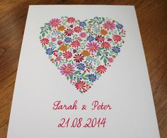 Personalised Ditsy Heart Wedding Print Engagement by KitchCards, £15.00