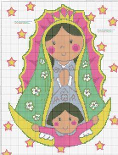 Virgen de Guadalupe Animada - Punto de cruz 25 X 33 centimetros 137 x 181 puntos 9 colores DMC