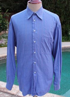 Ermenegildo Zegna Dress Shirt size 17 US Large EUR 43 Blue Button Front #ErmenegildoZegna
