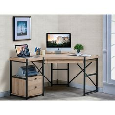 Julian Furniture Berlin Corner Desk - The eye-catching Julian Furniture Berlin Corner Desk not only boasts stunning industrial style, it also features functional amenities and a space-saving...