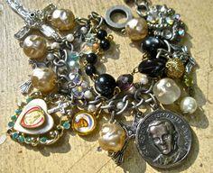 Religious Catholic medal  charm bracelet beads   by pinkflamingo61, $59.00