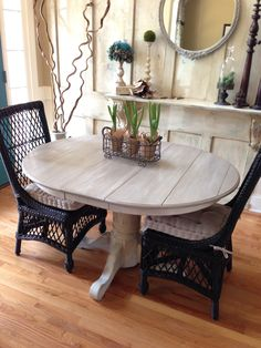 Kitchen or dining table Annie Sloan Chalk pint coco and old white. pottery Barn Delany Chairs