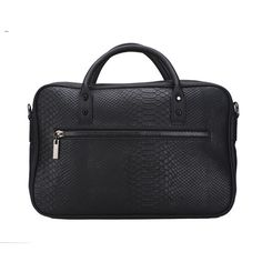 https://www.cityblis.com/4497/item/14278  Mc laptop bag - $230 by Fashion by C  Computer bag with black snake patterned leather in the front. Zipper on the front of the bag. The back of the bag in black leather with a smaller zipper in metal. Associated strap included.
