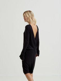 MODAL - LONG SLEEVED DRESS, Black, large