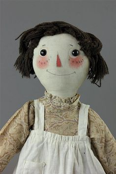 """16"""" EARLY AND RARE VOLLAND RAGGEDY ANN ~ ALL ORIGINAL, STAMPED """"PATENTED SEPT. 7, 1915"""" ON HER BACK"""