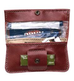 Handmade and personalized, red leather rolling tobacco pouch. $39.99, via Etsy.