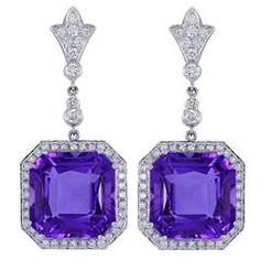 Shop diamond and pearl dangle earrings and other vintage and antique earrings from the world's best jewelry dealers. Purple Jewelry, Prom Jewelry, Amethyst Jewelry, Amethyst Earrings, Jewelry Rings, Jewelry Accessories, Gold Chandelier Earrings, Glass Earrings, Crystal Earrings