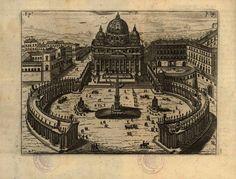 Basilica di San Pietro e il colonnato #roma #vaticano #basilica #settechiese #bernini #illustrazione Big Ben, Vintage World Maps, San, Antiques, Arch, Painting, Dibujo, Rome, Vatican
