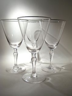 4 Fostoria Silver Rimmed Wine Glasses Engagement pattern