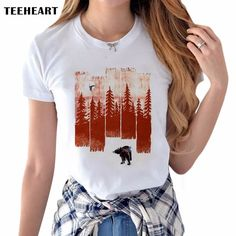 Latest Women's Fashion Creative T-shirt Bear And Mountain Printing Tee Shirts Hipster O-neck Short Sleeve Casual Popular Tops #Affiliate