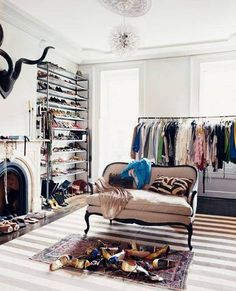 turn room into walk in closet dressing room with fireplace
