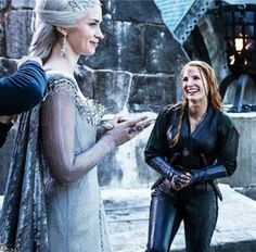 Actresses Emily Blunt(Freya) & Jessica Chastain(Sara) on set Of The Huntsman Winters War(2016)