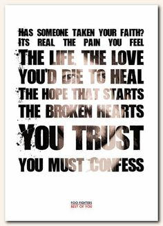 FOO FIGHTERS Best Of You typography song by RetrotypePrints, £8.99