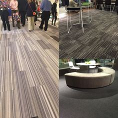 The 11th floor of Chicago's Merchandise Mart during #NeoCon15. Our collections can be spotted underfoot in several locations: Fixate throughout 11th floor halls (left); Consequence in the Allsteel showroom (top right); Formwork in the CF Group showroom (bottom right).
