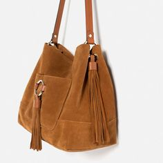 Image 3 of LEATHER BUCKET BAG WITH TASSELS from Zara