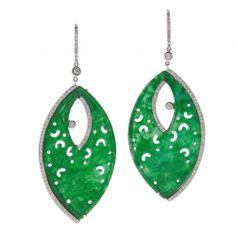 Carved Jade Diamond Platinum Handmade Earrings