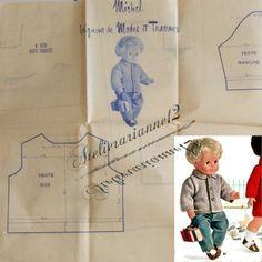 ❤ Patron original TRICOT poupée Michel MODES ET TRAVAUX, Septembre 1969 : 4,99 EUR