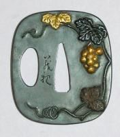 grapes tsuba (sword guard) A new life as a light switch plate?  Would be quite beautiful.