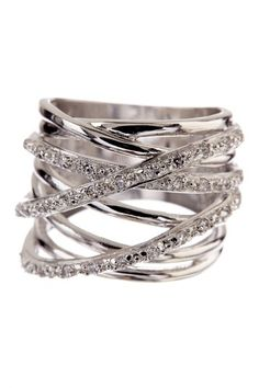 """CZ Overlapping Multi-Row Ring by Adam Marc $310 - $94 at HauteLook. - Sterling silver CZ accented overlapping multi-row ring - Approx. 0.75"""" L x 1"""" W ring face  - Made in Italy Materials: 925 sterling silver, cubic zirconia"""