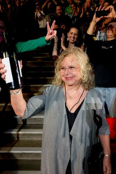 Eddie's mother with his bottle of wine in San Diego/2013