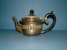 Art Deco Silver Plate Teapot with Ebony by QueensParkVintage