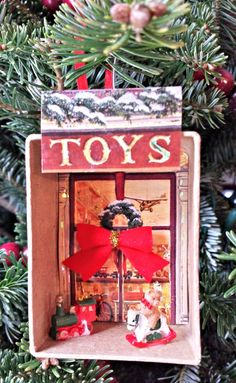 Use old holiday cards and mini figurines to construct a  vintage holiday ornament that the kids will love to make!