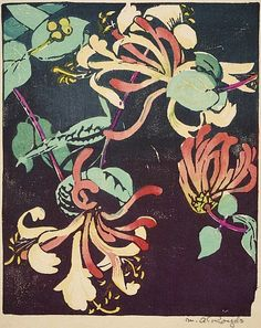 Honeysuckle woodcut by Mabel Royds 1936.