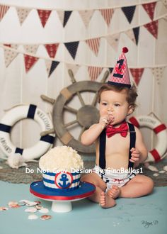 Items similar to Nautical Birthday cake smash outfit chevron anchor optional suspenders baby boy hat Navy diaper cover bow tie 9 12 18 24 toddler on Etsy Nautical Cake Smash, Nautical Birthday Cakes, 1st Birthday Themes, Baby Boy 1st Birthday, Birthday Cake Smash, Birthday Photos, 1st Birthday Parties, Sailor Birthday, Sailor Party