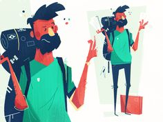 Traveling character by Kirk! Wallace #Design Popular #Dribbble #shots