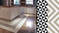 Dos tipos de mosaicos hidráulicos con formas geométricas, líneas y triángulos para dar estabilidad y contraste a tu cocina.