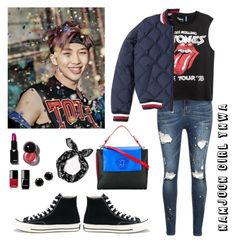 """""""Namjoon Girl YNWA"""" by awakewithu on Polyvore featuring Tommy Hilfiger, Converse, Versace and Chanel"""