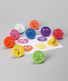 This set of plastic-handle stamps fit perfectly in children's hands and help to define fine motor, social, emotional and cognitive skills. Using emoticon stamps can help little ones learn to understand and express feelings in a creative and calm manner.Includes happy, sad, nervous, surprised, mad, content, scared, tired, sick and confused face stamps3'' diameterRecommended for ages 3 years and upImported