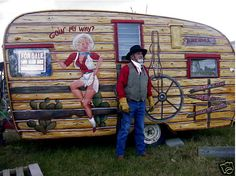 paintings of vintage campers | Tiny House Blog , Archive Vintage Painted Cowgirl Western Shasta ...