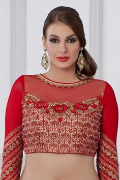 3baaf559f Shop Latest Red Art Silk Georgette Net Handwork Blouse - BLV003 Online  Shop   Latestartsilkblouse