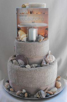 seaside spa cake front | Seaside 2 Tier Spa Towel Cake - $85… | Flickr