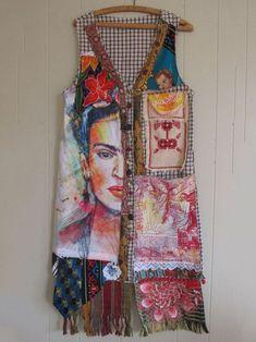 hold for ab - abstract altered artist FRIDA SMOCK Wearable Folk Art Kimono Couture Vintage Mexican Collage Clothing - myBonny MyBonny - Frida Studio Wear - Collage Clothing Wearable Folk Art Textiles, Abaya Mode, Frida Art, Art Populaire, Altered Couture, Altering Clothes, Vintage Crochet, Vintage Sewing, Mode Inspiration