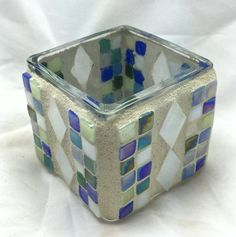 Square mosaic candle holder
