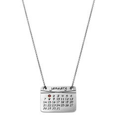 the calendar necklace in sterling silver