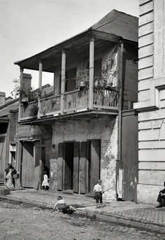 "New Orleans circa 1880s-1890s. ""Street in the French Quarter."" Take care not to trip on the guttersnipes. 5x7 glass negative by William Henry Jackson. Attribution based on Catalogue of the W.H. Jackson Views (1898). Prints from $15."