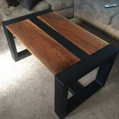 Handmade Wood & Steel Coffee Table by on Etsy Más Coffee Chairs, Steel Coffee Table, Rustic Coffee Tables, Coffee Table Design, Wood Steel, Wood And Metal, Handmade Furniture, Handmade Table, Cool Tables