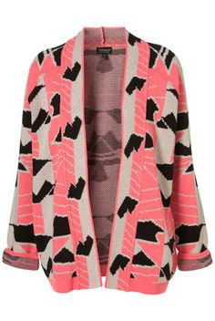 Knitted Geometric print cardi from Topshop