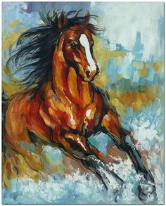 Signed Hand Painted Impressionistic Horse by FolkcultureGallery
