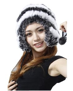 H4 nature rex rabbit  women knitted  fur  cap for winter and fall hat with ear flaps
