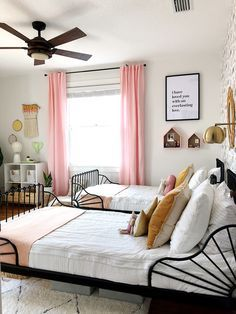 Throw Blanket Girls Bedroom Reveal – Guest Participant of the One Room Challenge… Shared Bedroom, Bedroom Makeover, Shared Girls Room, Bedroom Design, Bedroom Furniture, Bed, Bedroom, Rustic Bedroom, Kid Room Decor